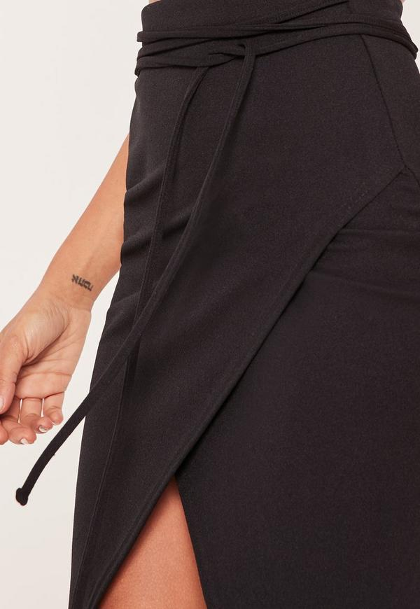 Black Tie Wrap Around Asymmetric Midi Skirt - Missguided