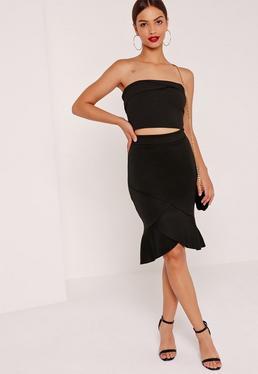 Frill Hem Overlay Scuba Midi Skirt Black