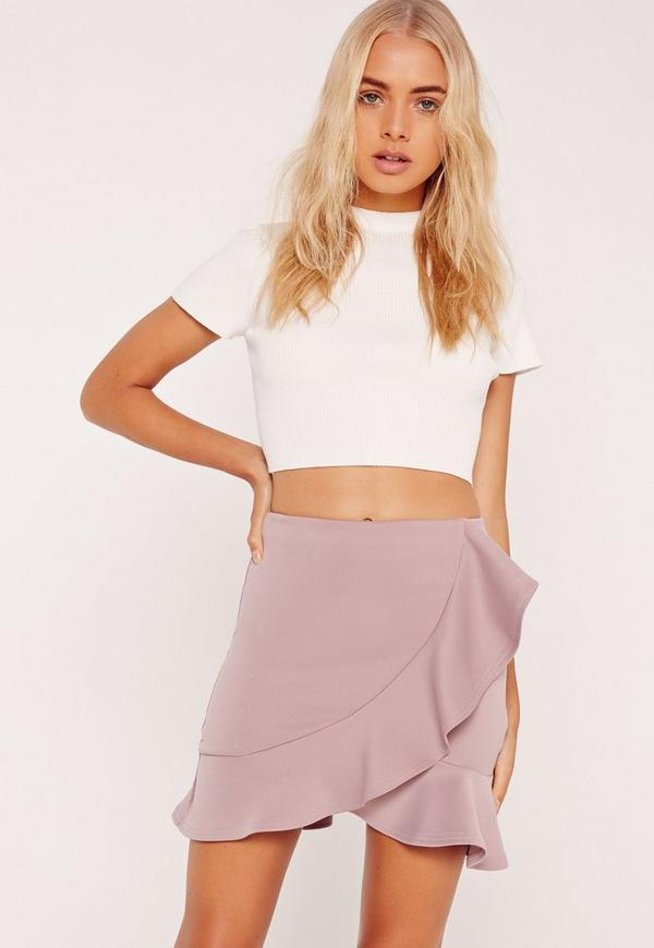 Frill Detail Scuba Mini Skirt Lilac