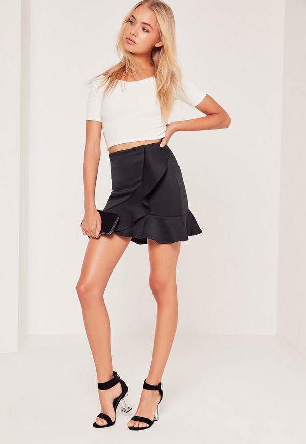 Frill Detail Scuba Mini Skirt Black