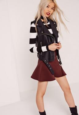 Scuba Frill A Line Skirt Burgundy