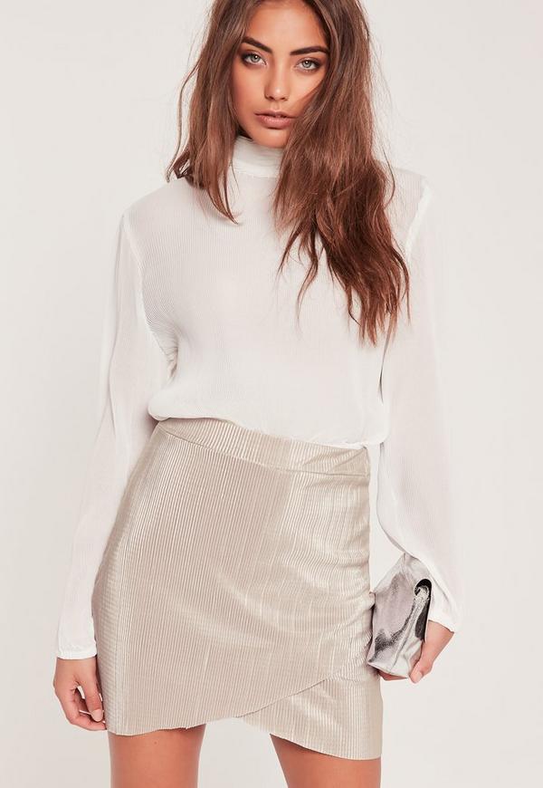 Crinkle Overlay Mini Skirt Grey