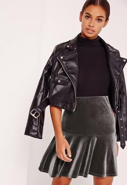 Frill Hem Velvet Mini Skirt Grey