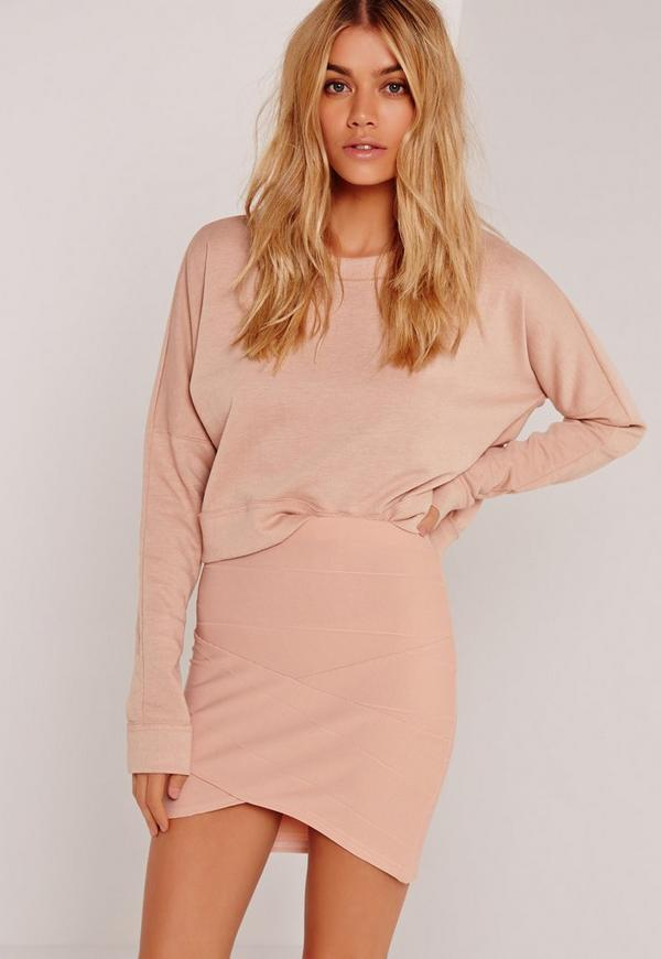 Asymmetric Bandage Mini Skirt Nude