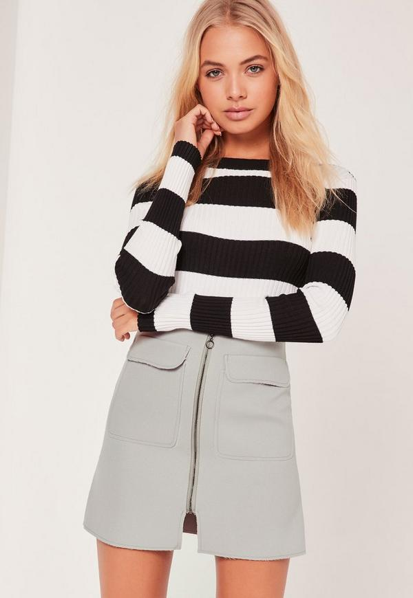 Zip Front Mini Skirt Grey