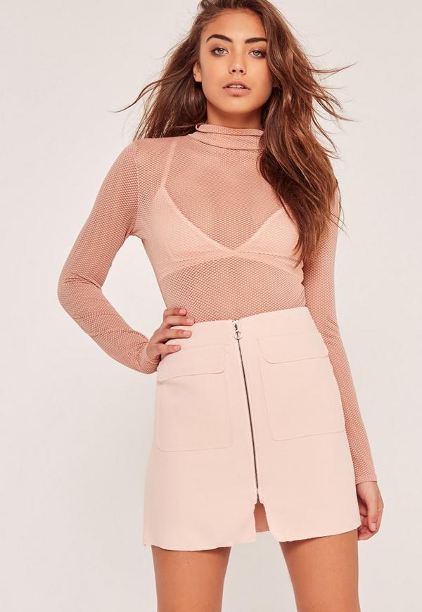 Zip Front Mini Skirt Pink