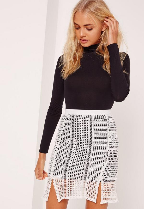 Crochet Mini Skirt White