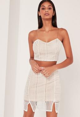 Crochet Mini Skirt White
