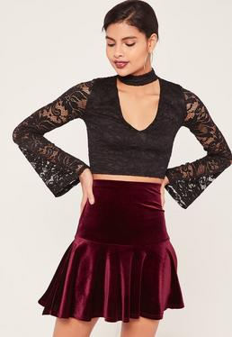 Frill Hem Velvet Mini Skirt Burgundy