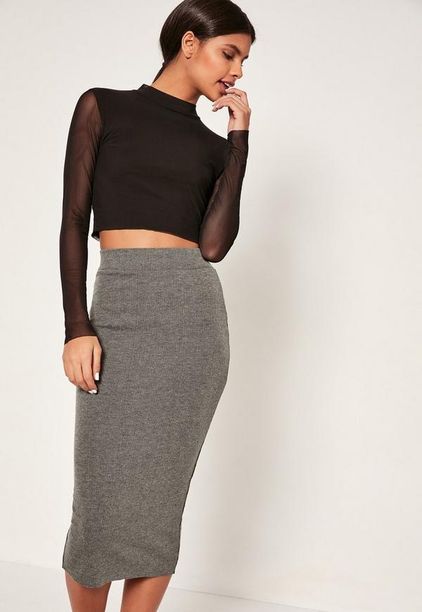 Grey Narrow Ribbed Midi Skirt | Missguided