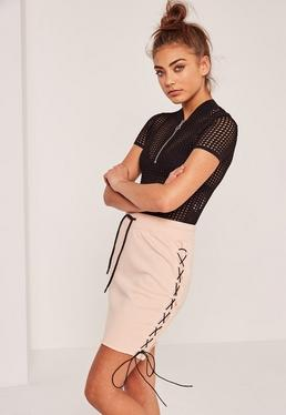 Pink Lace Up Side Loopback Mini Skirt