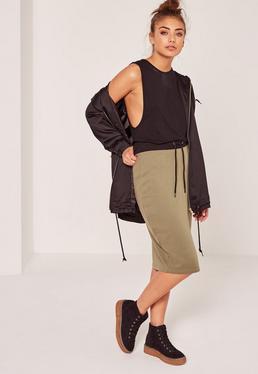 Contrast Waistband Loopback Midi Skirt Khaki