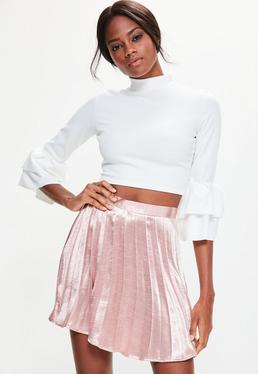 Rose Gold Satin Full Pleated Mini Skirt
