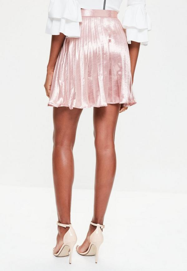 Rose Gold Satin Full Pleated Mini Skirt | Missguided
