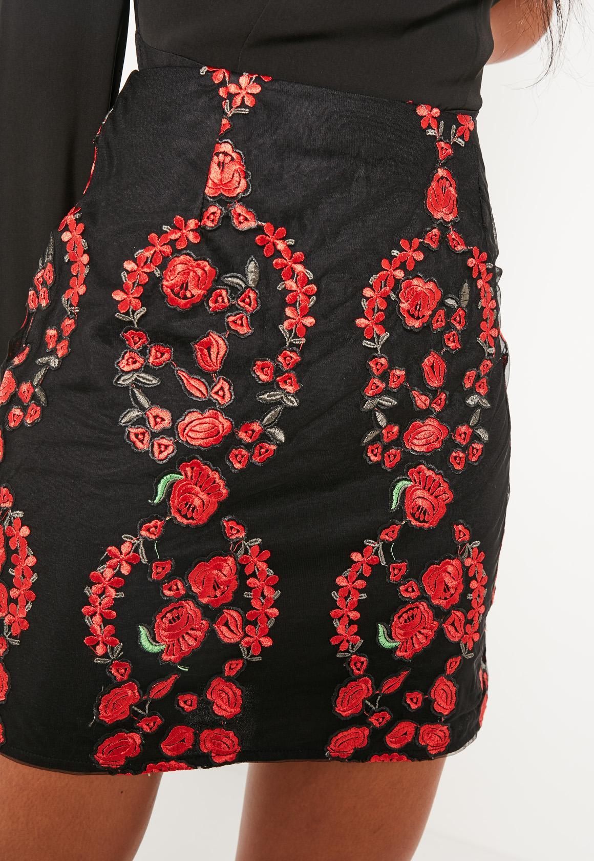 Floral Embroidered Mini Skirt Black