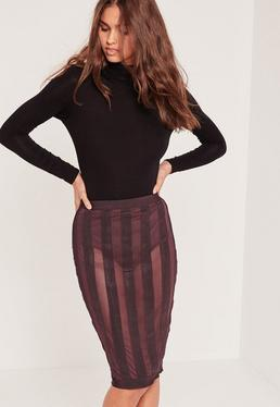 Premium Mesh Bandage Striped Midi Skirt Purple