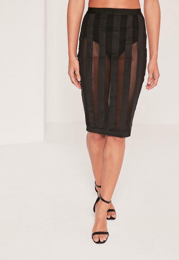 premium mesh bandage striped midi skirt black missguided