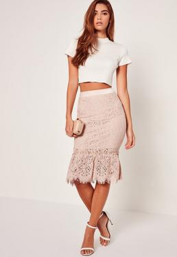 Lace Full Hem Midi Skirt Nude