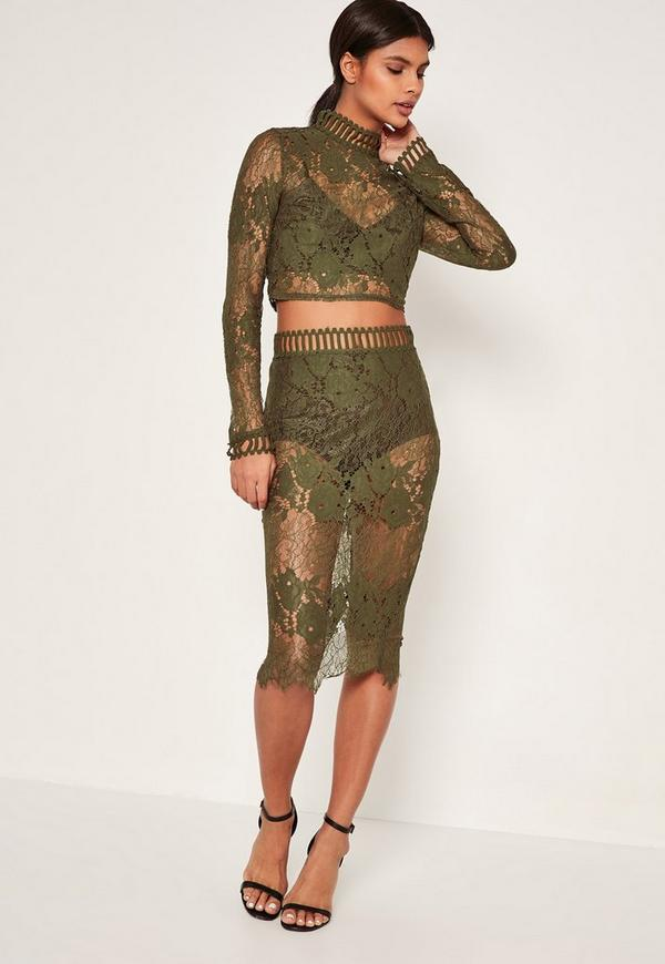 Khaki Lace Split Back Skirt