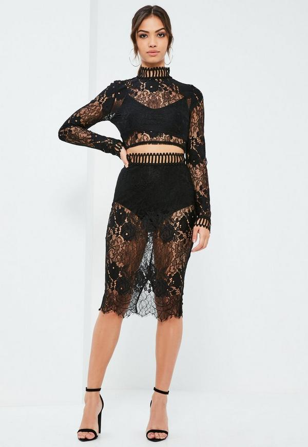 Black Cobweb Lace Split Back Skirt