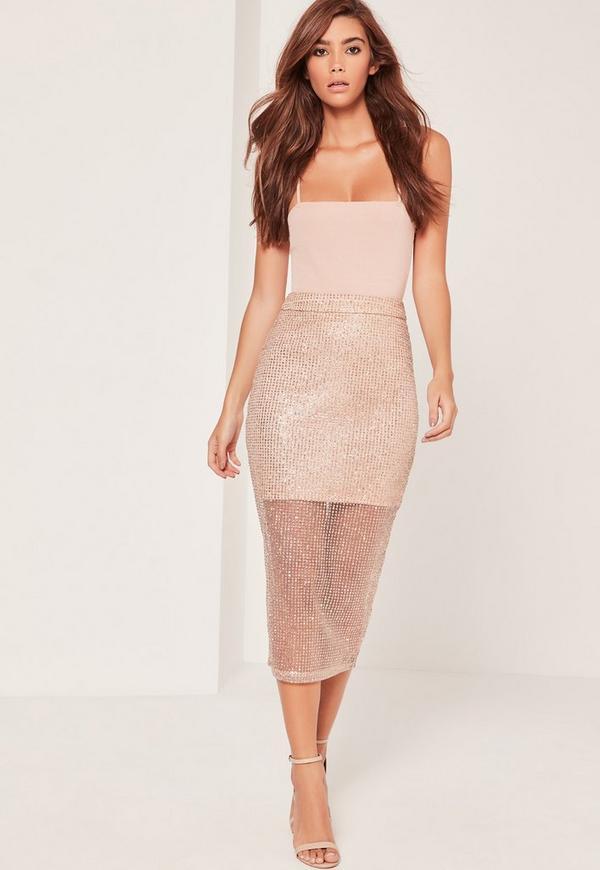 Mesh Half Lined Midi Skirt Glitter Gold