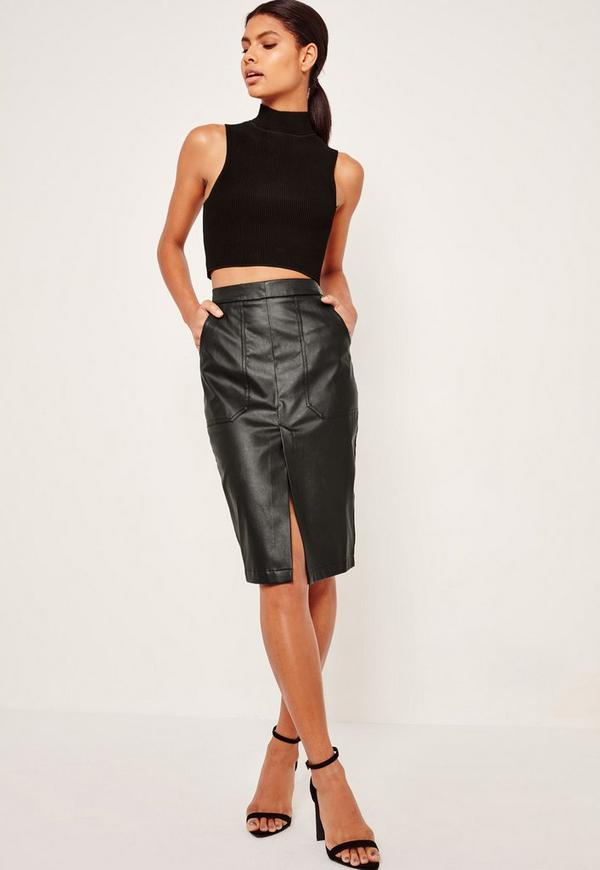 Faux Leather Pocket Detail Midi Skirt Black