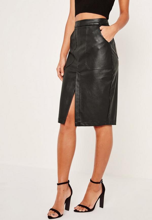jupe mi longue noire en simili cuir et poches missguided. Black Bedroom Furniture Sets. Home Design Ideas