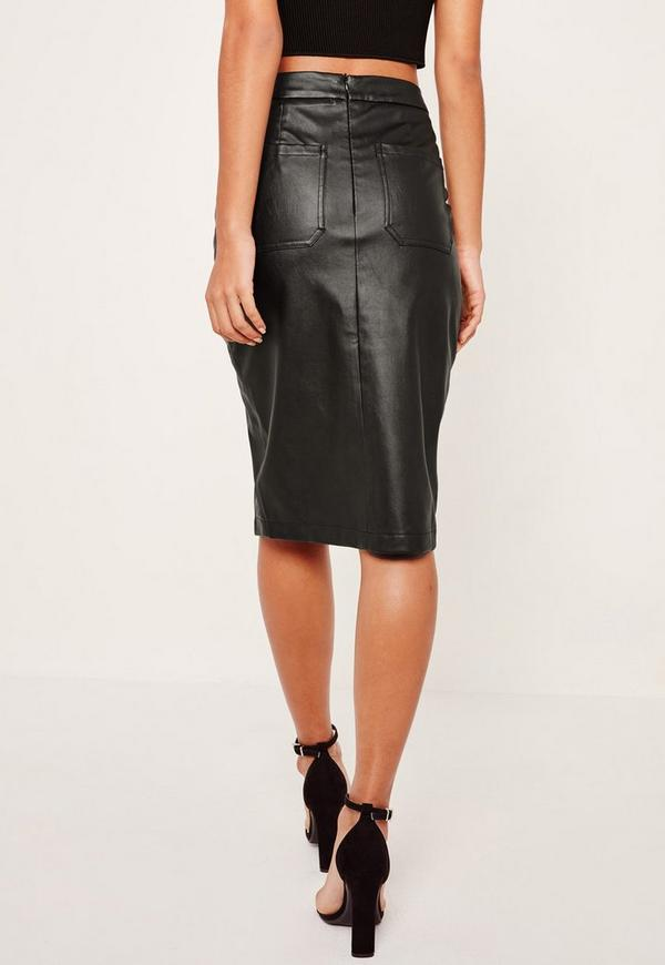 Faux Leather Pocket Detail Midi Skirt Blackufeff | Missguided Australia