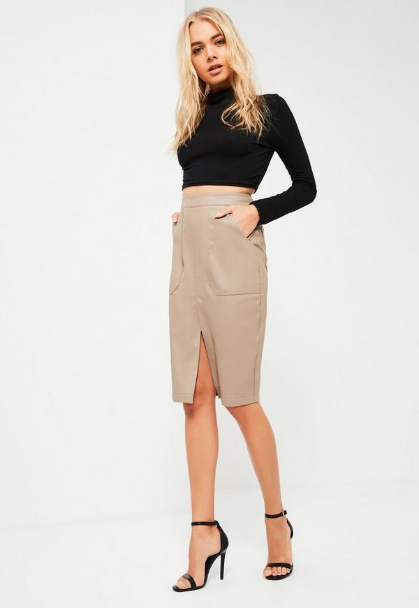 Nude Faux Leather Midi Pocket Skirt