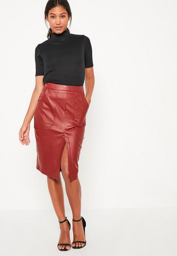 burgundy faux leather midi pocket skirt missguided