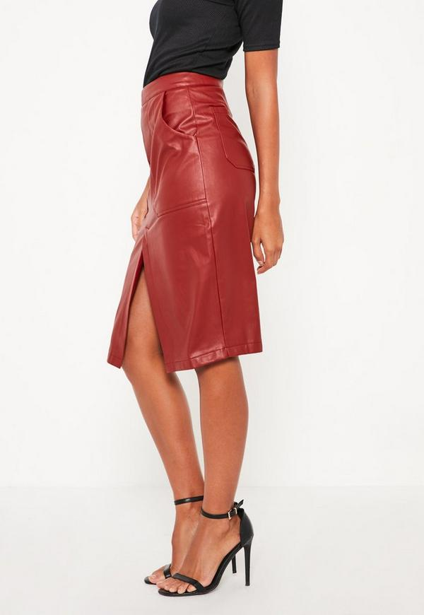 Burgundy Faux Leather Midi Pocket Skirt | Missguided Australia