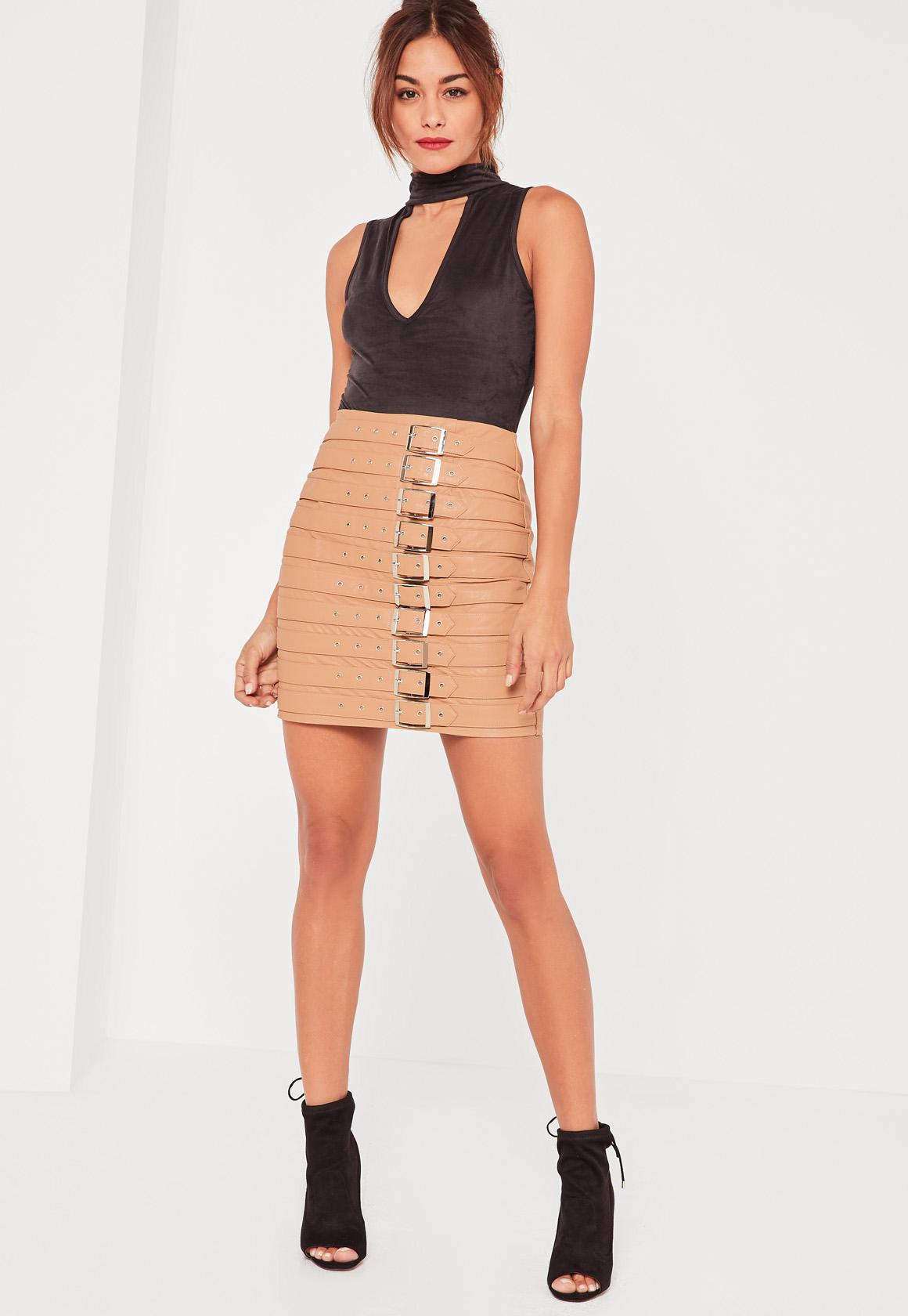 Nude Faux Leather Buckle Detail Mini Skirt | Missguided
