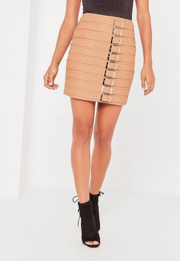 Nude Faux Leather Buckle Detail Mini Skirt - Missguided