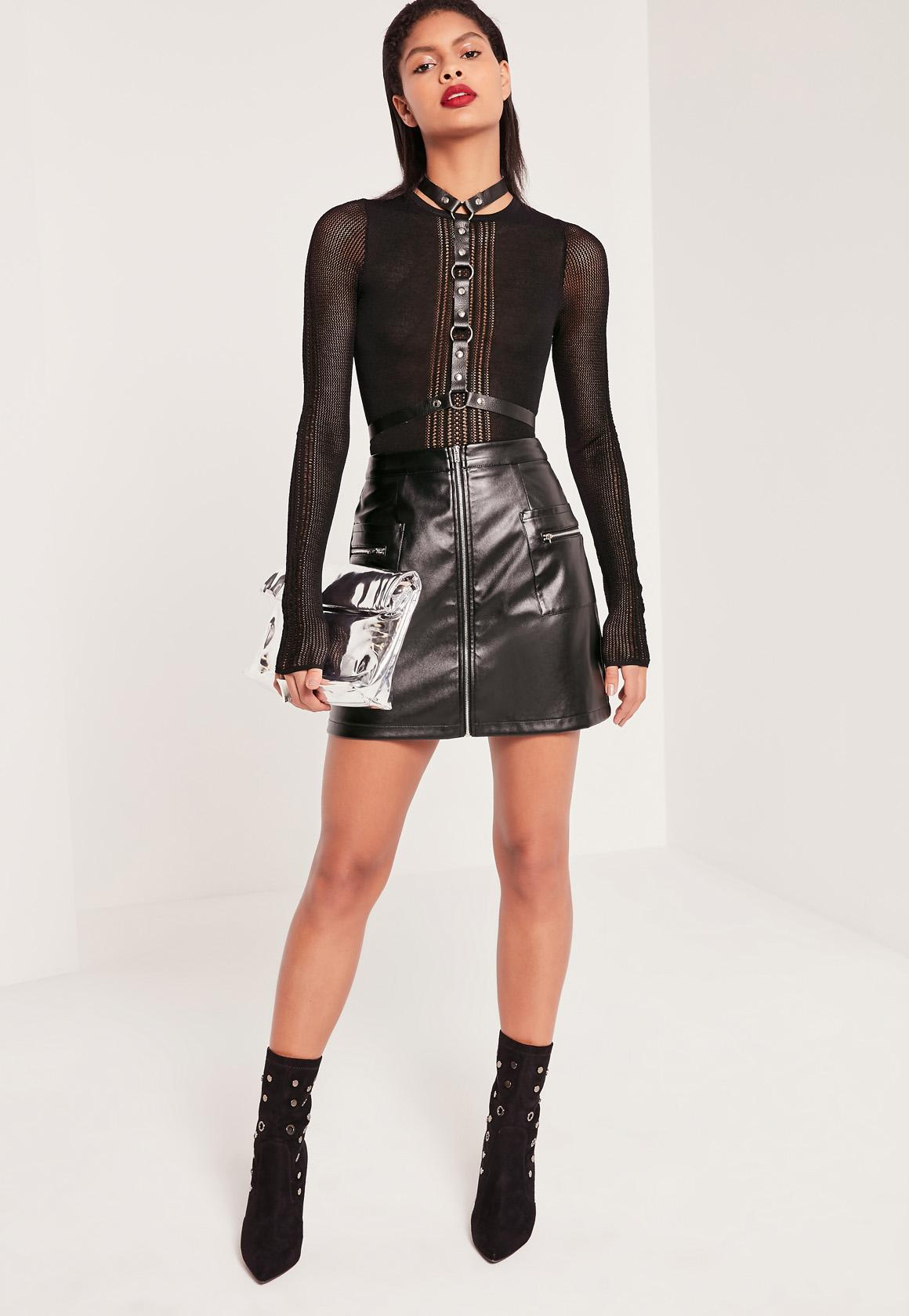 Zip Pocket Detail Zip Through Faux Leather Skirt | Missguided