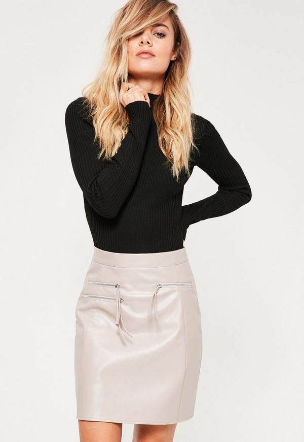 Grey Triple Zip Faux Leather Mini Skirt