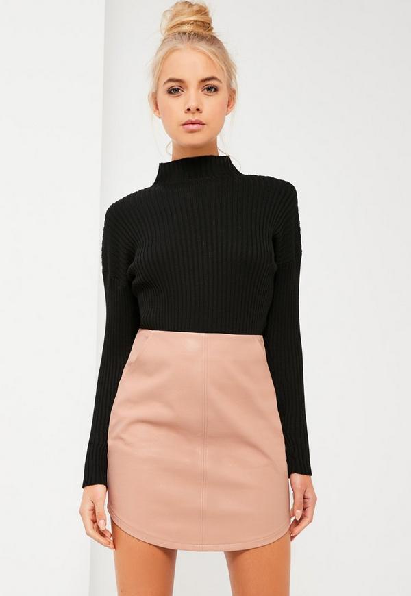 Nude Curve Hem Zip Back Faux Leather Skirt