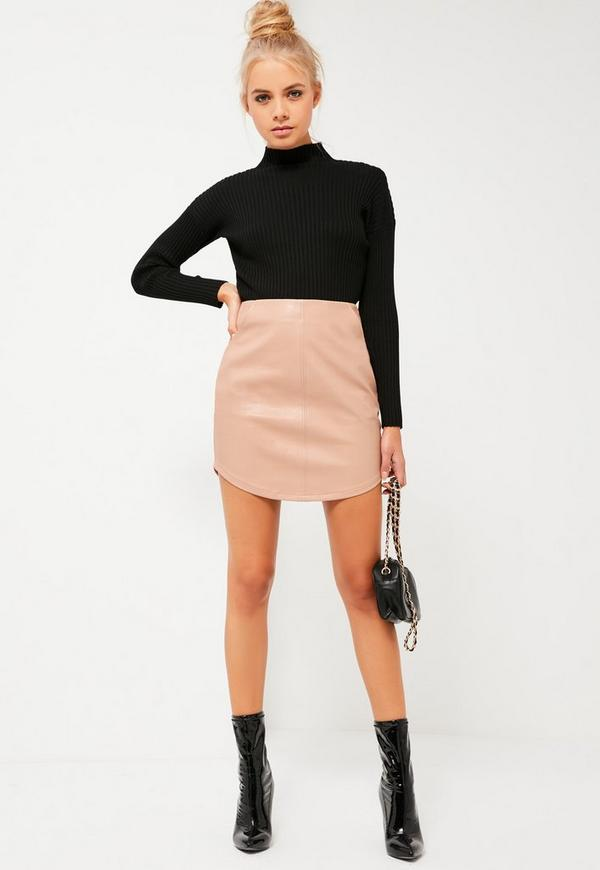 Nude Curve Hem Zip Back Faux Leather Skirt | Missguided