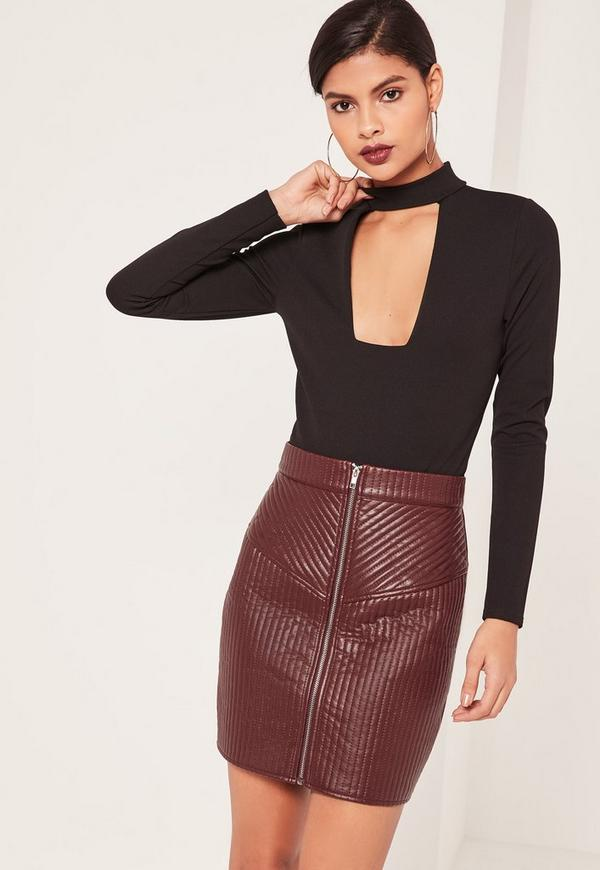 Quilted Zip Faux Leather Mini Skirt Burgundy