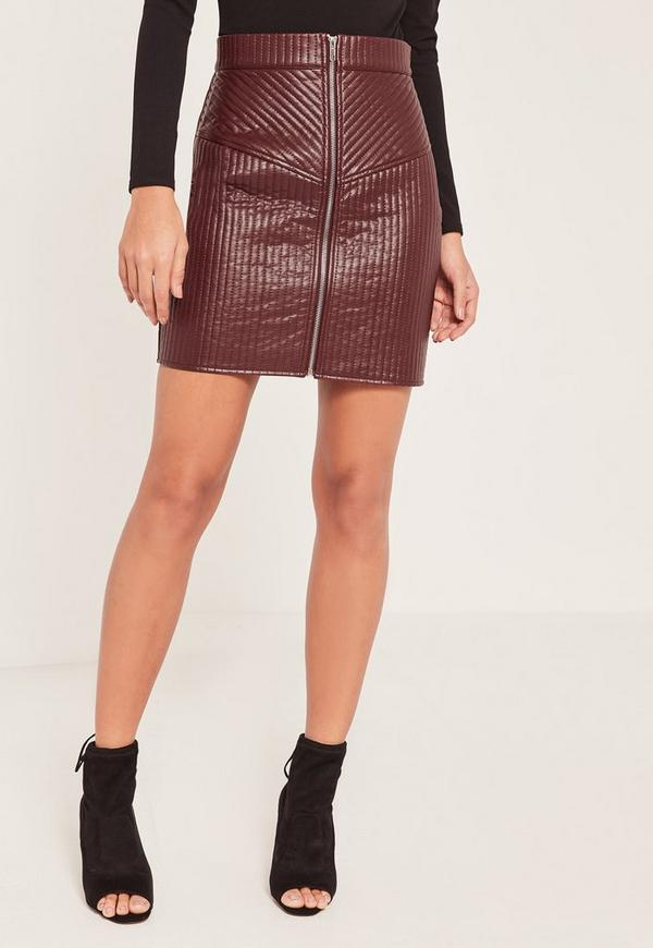 Quilted Zip Faux Leather Mini Skirt Burgundy | Missguided : quilted faux leather skirt - Adamdwight.com