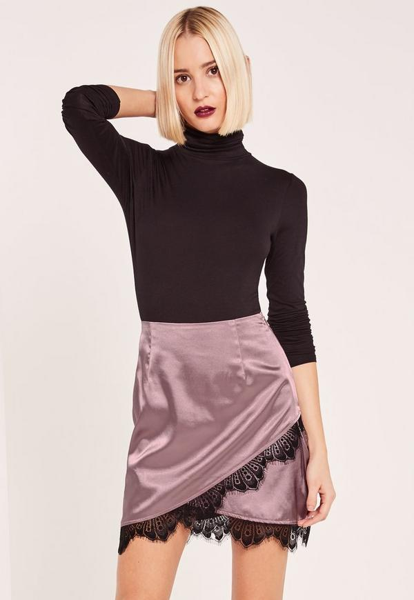 Purple Asymmetric Satin Lace Trim Mini Skirt