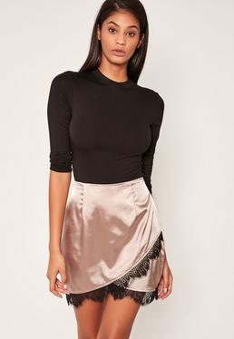 Nude Asymmetric Satin Lace Trim Mini Skirt