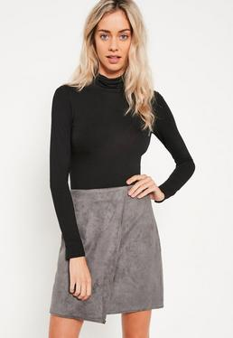 Grey Faux Suede Asymmetric Wrap Mini Skirt