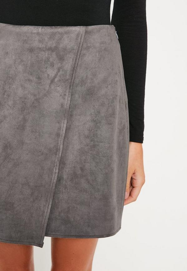 Grey Faux Suede Asymmetric Wrap Mini Skirt | Missguided