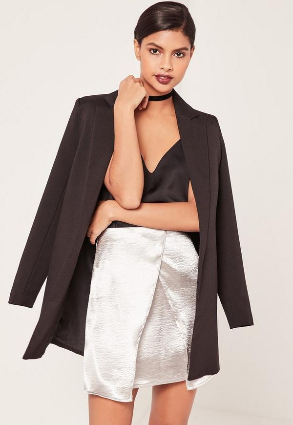 Satin Asymmetric Wrap Skirt Silver