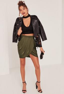 Khaki Gathered Front Wrap Asymmetric Mini Skirt