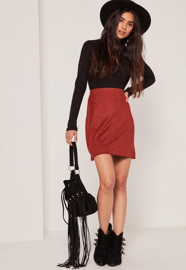 Burgundy Faux Suede Stitch Front A-Line Mini Skirt