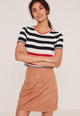 Tan Faux Suede Stitch Front A-Line Mini Skirt