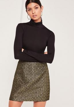 Foil Textured A Line Wrap Mini Skirt Gold