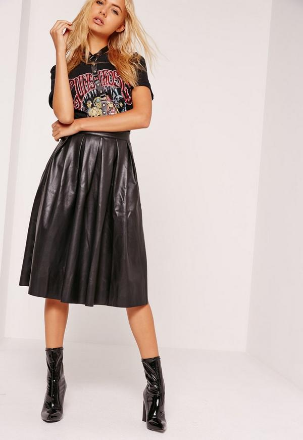 Premium Faux Leather Pleated Midi Skirt Black