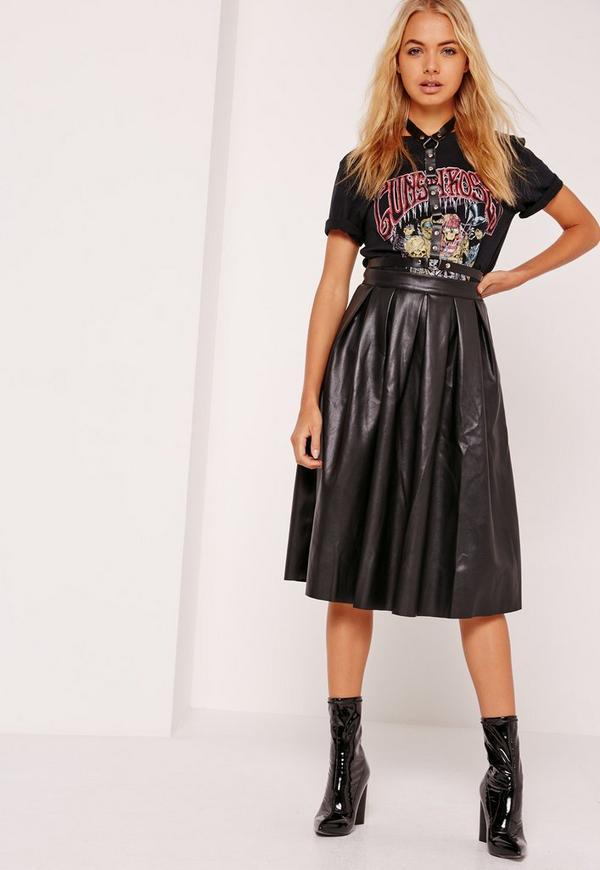 Premium Faux Leather Pleated Midi Skirt Black | Missguided